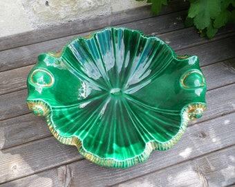 Fruit bowl of Santiago Rodriguez Bonome Paris - Green and golden fruit bowl - Vintage crockery - Enamelled stoneware -