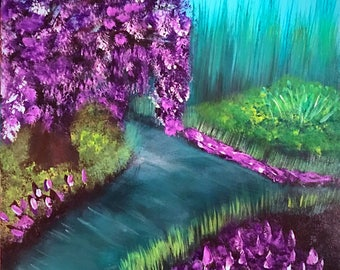 """Beautiful impressionist landscape painting--""""Enchanted Thicket"""" 12 x 12 acrylic on cradled canvas board"""