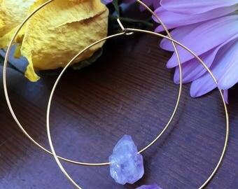 Amethyst stone hoops