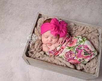 Swaddle Sack and Headband or Hat Set in Rose Floral - Newborn Baby Girl - Swaddling Cocoon - Baby Gift - Sleep Sack - Floral Swaddle Set
