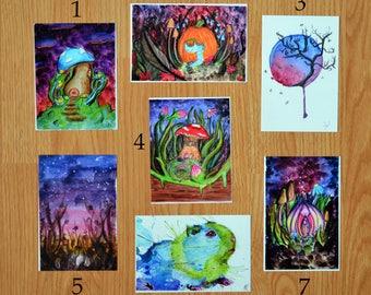 Watercolour Art Postcard Prints - Fantasy Mushrooms / Cute Guinea Pig / Handpainted Watercolor Painting / Forest Fairy Garden Magic