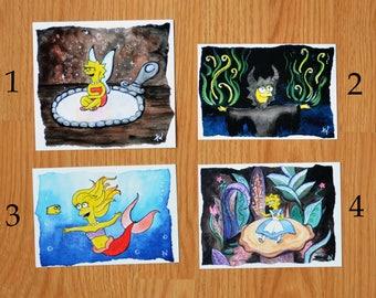 Lisa Simpson Postcard Prints - Crossover Fan Art / The Simpsons / Alice Mermaid Maleficent Tinkerbell / Disney Princess