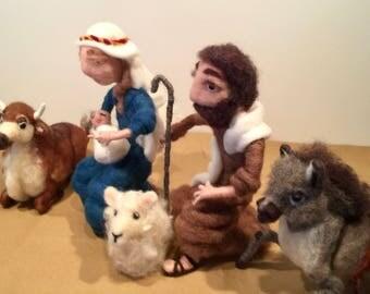 Needle felted nativity, needle felted xmas, wool nativity , nativity set, Waldorf nativity, wool nativity figurines, nativity dolls, Xmas