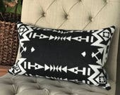 Black and White Pendleton Wool 14x22 Pillow Cover, Pendleton wool pillow, throw pillow, decorative pillow