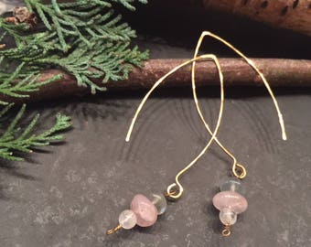 Triple Gem Earrings | Moonstone ~ Rose Quartz ~ Fluorite | Feminine Boho Dangles
