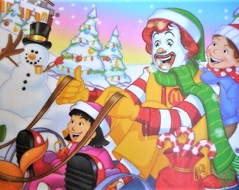 McDonald's Restaurant Holiday Kid's Plate ...  Snowman , Reindeer , Candy Cane , Gift
