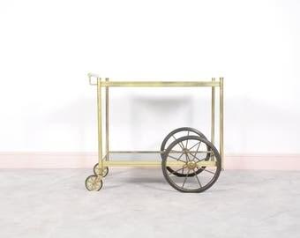 Mid century brass & glass cart bar