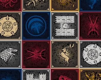 "Game of Thrones house sigils fabric for Springs Creative, 43"" wide, 100% cotton, by the half yard, GOT fabric, character fabric"