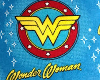 "Wonder woman on blue flannel fabric, By the Half Yard, 42"" wide, 100% cotton - dc comics - WW fabric - superhero fabric"