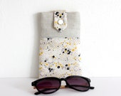 Étui à lunettes ou téléphone en lin irisé et coton à motifs fleurs
