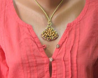 Colorful macrame necklace, Handmade necklace cotton, Macrame necklace wooden beads, Boho necklace, Gift for her, Macrame necklace, Makrame