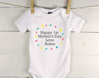 Personalised mothers day baby vest - Mothers Day baby grow - personalised 1st mothers day - personalised mothers day babygrow with triangles