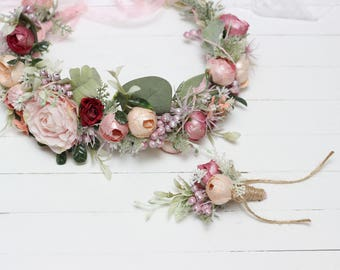 Romantic flower crown Pink peach red floral headpiece Brida halo Wedding hair wreath Outdoor Boutonniere Maternity photoprops Bridesmaid