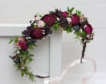 Purple pink greenery berries flower crown Flower halo Wedding hair wreath Floral headband Flower girl crown Woodland Outdoor Forest