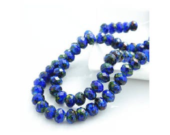 set of 10 faceted 8 mm Blue Crystal glass beads