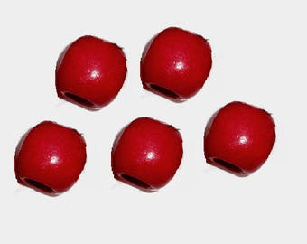 set of 5 large drum red 17 mm x 16 mm wooden beads
