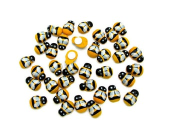 Set of 10 bees wood stick 13 mm x 9 mm