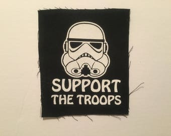 Support the Troops hand screen printed cotton patch