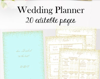 Wedding Planner Template PDF, Editable Wedding Planner Editable Planning Printables, PDF Templates Printable, Letter Size, Instant Download