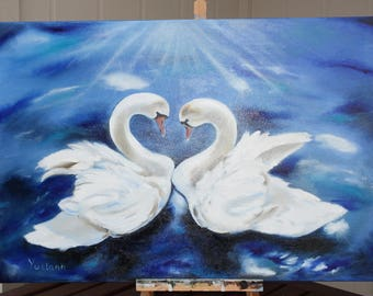 Swans, oil painting, swans love, painting of swans, swan oil painting, oil painting , 36x24 inches