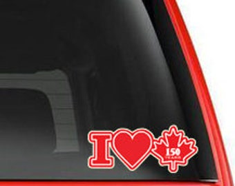 I Heart Canada 150 years Canada car window vinyl decal, vehicle decal, celebrating Canada, window cling, removable sticker, car decal-0111