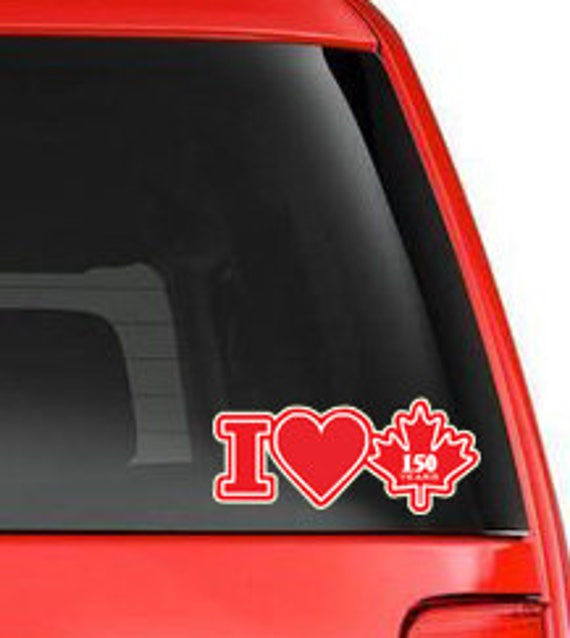 I Heart Canada Years Canada Car Window Vinyl Decal - Custom vinyl car decals canada
