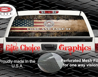 Wicked Wire 2nd Amendment Camo Flag Rear Window Graphic Tint Decal Sticker Truck SUV Van Car
