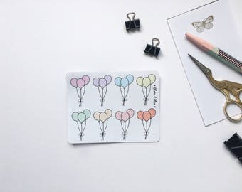 8 Balloon Stickers Erin Condren Planner Filofax The Happy Planner