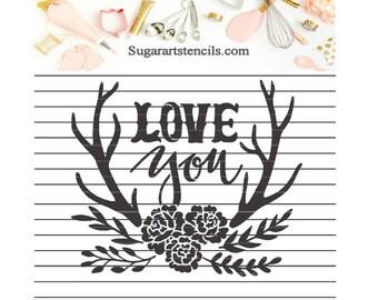 Love you antlers stencil deer wood NB600152