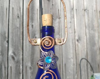 Wine Bottle Bird Feeder * Cobalt Blue with Flower Charm * Handcrafted *Hammered Copper *Metal Feeder Port *Gift Idea *Recycled Materials