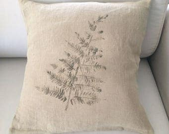 "Collection ""Vegetable prints"" 100% linen cushion"