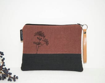 Black and Brown embroidered pouch / padded pouch / clutch embroidered / embroidered tree / Japanese spirit / gift