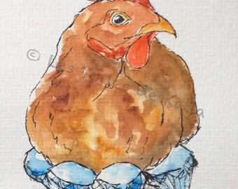 Luxury hen, watercolor map postcard 10 X 15