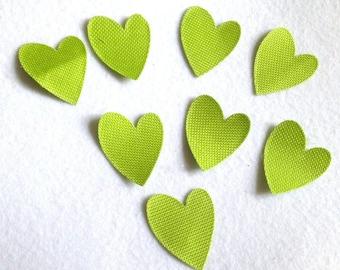 8 heart cutouts in lime green waterproof canvas dies