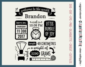 Metric Birth Announcement Stencil SVG Birth Stats Template svg Baby Stats svg - Cricut Silhouette cute newborn fact centimetre grams dxf png