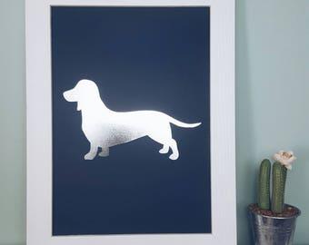 A4 Sausage Dog Wall Print - Sausage Dog Poster Dachshund Wall Print Sausage Dog Art - Dachshund Picture Dachshund Gifts Home Decor