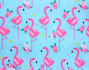 Pink Flamingo, Flamingo Fabric, Cotton Canvas Fabric, Buzoku, Cotton Duck Fabric, for projects like Tote Bag, Book Cover, Cushion Cover