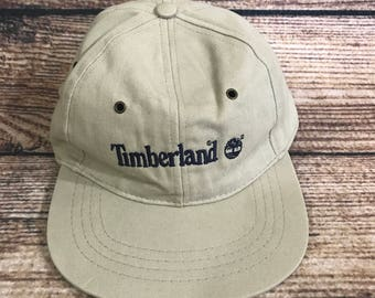 Vintage Timberland Strapback hat cap khaki made in USA osfa