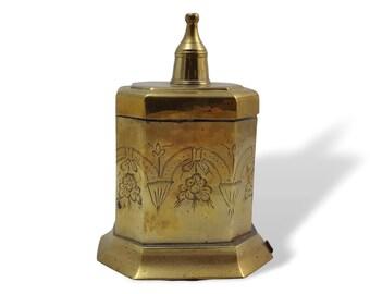 Engraved Brass Trinket Box