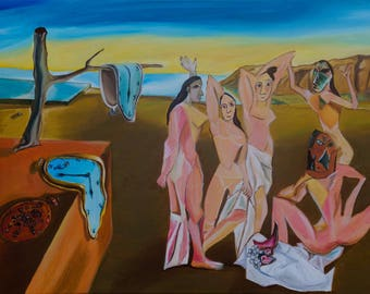 Dali & Picasso - oil painting by Romanian Artist - Rina - Tortillon Collection