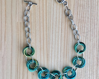 Mobius Flower Chainmaille Bracelet, Rosette Chainmaille Bracelet, Gift For Her
