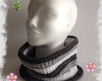Neck wool spring adult/women/teens, soft wool, lightweight and comfortable, grey/white color