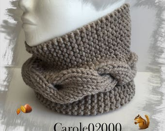Snood, neck circumference, tube scarf neck scarf, cowl wool for adults/teens, very warm thick winter wool, color beige/linen