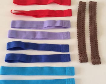 set of 10 headband elastic 20mm plain various colors available