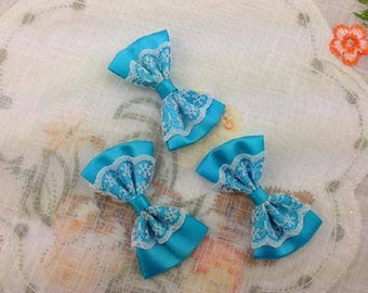 5 bow satin and lace flower applique