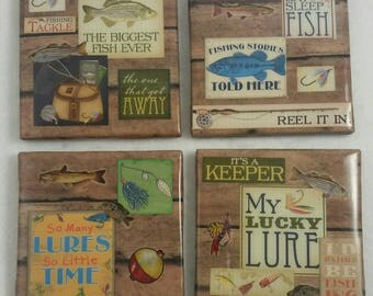 Fishing coasters/ Coasters/ Man Cave Coasters/ Man Cave Gift/ Gift for Husband/ Custom Coasters /Gift for Him/Fishing Decor