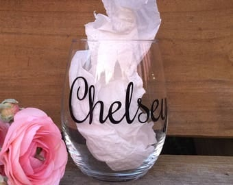 Personalized stemless wine glass with name , bridesmaid gifts , personalized bridal party gifts , customized wine tumbler , adult birthday