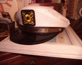 Vintage  CAPTAINS Hat Cap YACHT Sailing BOAT Skipper   boating Playboy of the Sea Gilligans Island Mr Howell