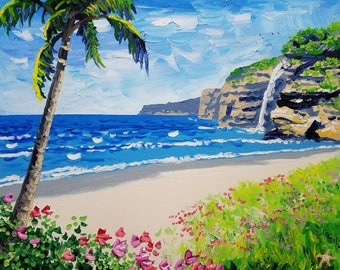 Palm tree painting, seascape artwork, palette knife beach painting by Ryan Kimba