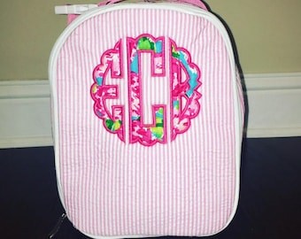 Lilly Inspired Appliqued Lunch Box